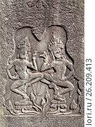 Carved figure on a stone slab in Angor Wat. Стоковое фото, фотограф Григорий Алехин / Фотобанк Лори