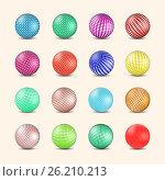 Set of glossy colored balls with halftone fill, vector illustration. Стоковая иллюстрация, иллюстратор Купченко Евгений / Фотобанк Лори