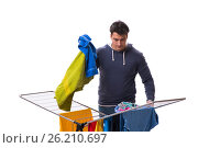 Купить «The husband man doing laundry isolated on white», фото № 26210697, снято 6 марта 2017 г. (c) Elnur / Фотобанк Лори