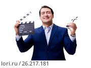Купить «The handsome man with movie clapper isolated on white», фото № 26217181, снято 5 ноября 2016 г. (c) Elnur / Фотобанк Лори