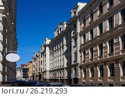 Купить «Улица Виландес, квартал в стиле модерн», фото № 26219293, снято 4 мая 2017 г. (c) Andrejs Vareniks / Фотобанк Лори