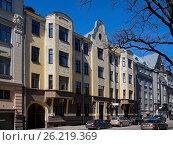 Купить «Riga, Rupniecibas 3, apartment house in Art Nouveau style», фото № 26219369, снято 4 мая 2017 г. (c) Andrejs Vareniks / Фотобанк Лори