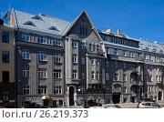 Купить «Riga, Rupniecibas 5, apartment house in Art Nouveau style», фото № 26219373, снято 4 мая 2017 г. (c) Andrejs Vareniks / Фотобанк Лори