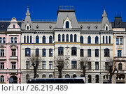 Купить «Riga, Elizabetes 17, a historical building with elements of Art Nouveau and eclecticism», фото № 26219489, снято 4 мая 2017 г. (c) Andrejs Vareniks / Фотобанк Лори