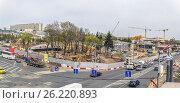 Панорама строительства парка в Зарядье (2017 год). Редакционное фото, фотограф Виктор Тараканов / Фотобанк Лори