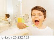 Купить «Boy with toothbrush and mouth wide opened», фото № 26232133, снято 19 марта 2017 г. (c) Сергей Новиков / Фотобанк Лори