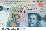 Десять китайских юаней и китайская туристическая виза. Стоковое фото, фотограф Владимир Половов / Фотобанк Лори