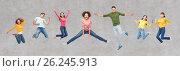 Купить «happy people or friends jumping in air over gray», фото № 26245913, снято 29 октября 2016 г. (c) Syda Productions / Фотобанк Лори