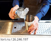 Купить «bartender with ice and shaker at cocktail bar», фото № 26246197, снято 7 февраля 2017 г. (c) Syda Productions / Фотобанк Лори