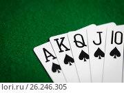 Купить «poker hand of playing cards on green casino cloth», фото № 26246305, снято 15 марта 2017 г. (c) Syda Productions / Фотобанк Лори