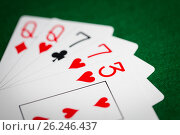 Купить «poker hand of playing cards on green casino cloth», фото № 26246437, снято 15 марта 2017 г. (c) Syda Productions / Фотобанк Лори