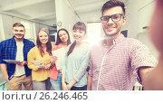 Купить «creative business team taking selfie at office», фото № 26246465, снято 27 февраля 2016 г. (c) Syda Productions / Фотобанк Лори
