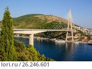 Купить «Мост Франьо Туджмана-подвесной вантовый в Дубровнике. Хорватия.», фото № 26246601, снято 27 августа 2016 г. (c) Устенко Владимир Александрович / Фотобанк Лори