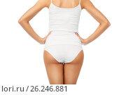 Купить «close up of woman body in white underwear», фото № 26246881, снято 9 апреля 2017 г. (c) Syda Productions / Фотобанк Лори
