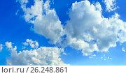Купить «blue azure sky with fluffy clouds», фото № 26248861, снято 16 июля 2019 г. (c) Юрий Брыкайло / Фотобанк Лори