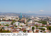 Купить «Панорама Тбилиси с высоты. Грузия», фото № 26260349, снято 1 мая 2017 г. (c) Сергей Афанасьев / Фотобанк Лори