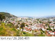 Купить «Панорама Тбилиси с высоты. Грузия», фото № 26260401, снято 1 мая 2017 г. (c) Сергей Афанасьев / Фотобанк Лори