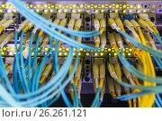 Купить «Optical switch and colorfull FC cables», фото № 26261121, снято 16 января 2019 г. (c) Mikhail Starodubov / Фотобанк Лори