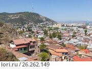 Купить «Панорама Тбилиси с высоты. Грузия», фото № 26262149, снято 1 мая 2017 г. (c) Сергей Афанасьев / Фотобанк Лори