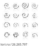 Set dotted spirals, vector illustration. Стоковая иллюстрация, иллюстратор Купченко Евгений / Фотобанк Лори