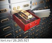 Купить «Open safe deposit box with golden ingots. Financial banking investment concept.», фото № 26265921, снято 16 июля 2018 г. (c) Maksym Yemelyanov / Фотобанк Лори