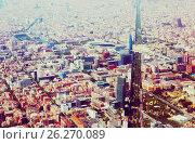 Купить «Aerial view of Barcelona with Avenue Diagonal», фото № 26270089, снято 1 августа 2014 г. (c) Яков Филимонов / Фотобанк Лори