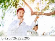 Купить «Handsome man practicing thai chi», фото № 26285205, снято 19 декабря 2014 г. (c) Sergey Nivens / Фотобанк Лори