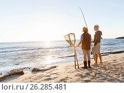 Купить «Senior man fishing with his grandson», фото № 26285481, снято 15 апреля 2015 г. (c) Sergey Nivens / Фотобанк Лори