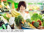 Купить «Adult female taking fruits and vegetables», фото № 26294505, снято 10 марта 2017 г. (c) Яков Филимонов / Фотобанк Лори