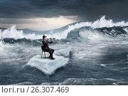 Купить «Surfing sea on ice floe. Mixed media», фото № 26307469, снято 25 февраля 2010 г. (c) Sergey Nivens / Фотобанк Лори