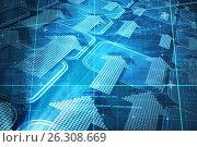Купить «Composite image of blue matrix and codes», иллюстрация № 26308669 (c) Wavebreak Media / Фотобанк Лори