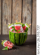 Watermelon, Coconut and Kiwi Popsicles. Стоковое фото, фотограф Татьяна Ворона / Фотобанк Лори
