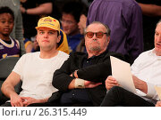 Купить «Celebrities spotted at the Lakers game. The Los Angeles Lakers defeated the Golden State Warriors by the final score of 112-95 at Staples Center Featuring...», фото № 26315449, снято 7 марта 2016 г. (c) age Fotostock / Фотобанк Лори