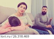 Купить «Father lecturing wife and daughter», фото № 26318469, снято 19 марта 2019 г. (c) Яков Филимонов / Фотобанк Лори
