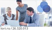 Купить «Male and female colleagues using laptop by graphics», фото № 26320013, снято 19 марта 2019 г. (c) Wavebreak Media / Фотобанк Лори