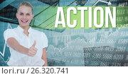 Купить «Businesswoman showing thumbs up by action text», фото № 26320741, снято 16 октября 2018 г. (c) Wavebreak Media / Фотобанк Лори