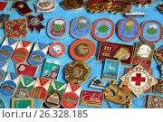 Купить «Moscow, Russia - may 07.2017. Trade badge of times of the USSR», фото № 26328185, снято 6 мая 2017 г. (c) Володина Ольга / Фотобанк Лори