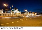 Купить «Rizhsky railway station (Rizhsky vokzal, Riga station) is one of the nine main railway stations in Moscow, Russia. It was built in 1901», фото № 26328529, снято 10 июня 2015 г. (c) Владимир Журавлев / Фотобанк Лори