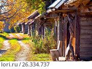 Купить «Historic wooden cottages street Ilica», фото № 26334737, снято 19 февраля 2019 г. (c) easy Fotostock / Фотобанк Лори