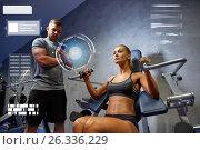 Купить «man and woman flexing muscles on gym machine», фото № 26336229, снято 19 апреля 2015 г. (c) Syda Productions / Фотобанк Лори