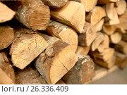 Купить «close up of firewood», фото № 26336409, снято 17 февраля 2017 г. (c) Syda Productions / Фотобанк Лори
