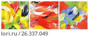 Купить «Триптих, Абстрактный рисунок, гуашь», иллюстрация № 26337049 (c) Виктор Топорков / Фотобанк Лори