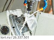 Купить «Milling metalwork. CNC metal machining by vertical mill with coolant», фото № 26337501, снято 16 мая 2017 г. (c) Дмитрий Калиновский / Фотобанк Лори