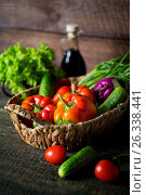 Paprika, vegetables and herbs in a rustic style. Стоковое фото, фотограф Наталья Майорова / Фотобанк Лори