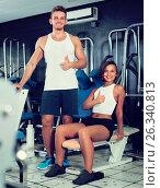 Купить «man and woman fitness coaches in gy», фото № 26340813, снято 16 января 2019 г. (c) Яков Филимонов / Фотобанк Лори