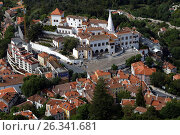 Aerial view to National Palace of Sintra, Portugal, фото № 26341681, снято 10 мая 2017 г. (c) Лиляна Виноградова / Фотобанк Лори