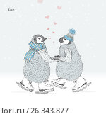 Lovers penguins skates on the ice. freehand drawing. Стоковая иллюстрация, иллюстратор Юлия Дакалова / Фотобанк Лори
