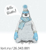 Cute fluffy penguin in knitted scarf, mittens and hat. Стоковая иллюстрация, иллюстратор Юлия Дакалова / Фотобанк Лори
