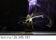 Купить «Ароматический конус в керамической подставке тлеет испуская дым разного цвета и интенсивности», фото № 26345181, снято 22 мая 2017 г. (c) Круглов Олег / Фотобанк Лори