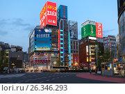 Купить «Красочные рекламные банеры на фасадах зданий в центре Токио, Япония», фото № 26346293, снято 15 апреля 2013 г. (c) Кекяляйнен Андрей / Фотобанк Лори
